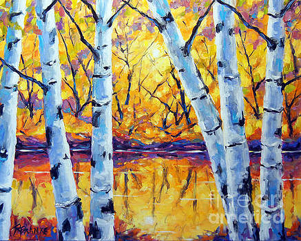Morning Sparkle Birches by Prankearts by Richard T Pranke