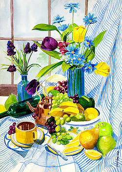 Morning Tea and Fruit by Janis Grau