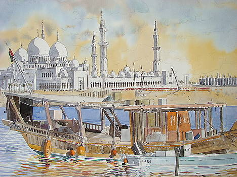 Mosque and Dhow Abu Dhabi by Martin Giesen