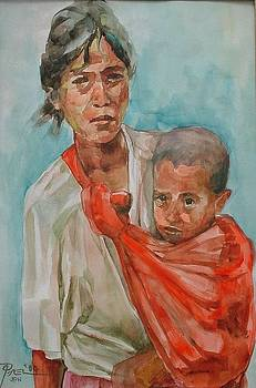 Mother and Child in Patadyong by Bong Perez