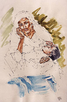 Mother Child and Bag by Mohd Raza-ul Karim