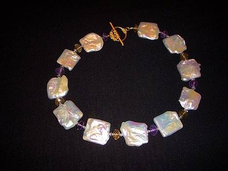 Mother of Pearl Choker Necklace by Antoinette DAndria Rumely