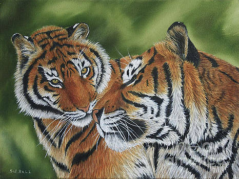 Mother Tiger and Cub by Sid Ball