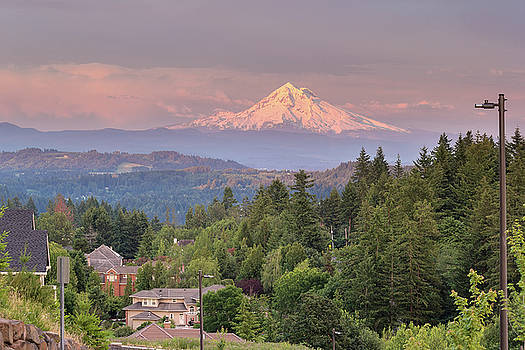 Mount Hood Evening Alpenglow at Happy Valley by Jit Lim