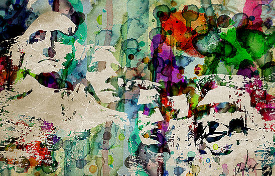 Mount Rushmore Watercolor Presiden by Robert R Splashy Art Abstract Paintings