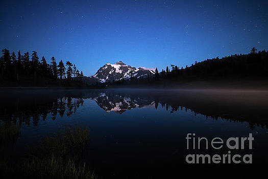 Mount Shuksan Night Fog Line by Mike Reid