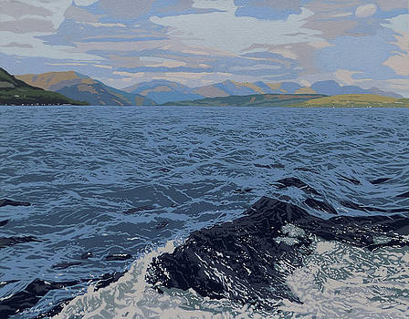 Mountain and waves by Malcolm Warrilow