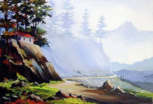Mountain Road - Acrylic on Canvas Painting by Samiran Sarkar