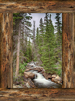 Mountain Stream Rustic Cabin Window View  by James BO Insogna