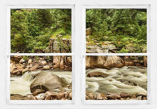 James BO  Insogna - Mountain Stream Whitewash Window View