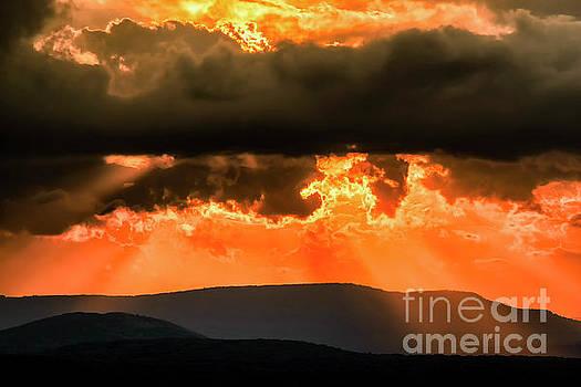 Mountain Sunrise Rays by Thomas R Fletcher