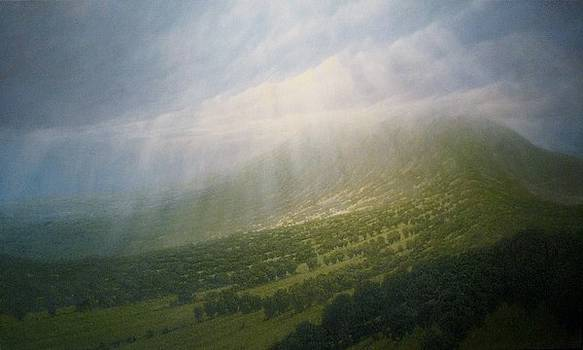 Mountainside with Sun and Rain by Richard Herman