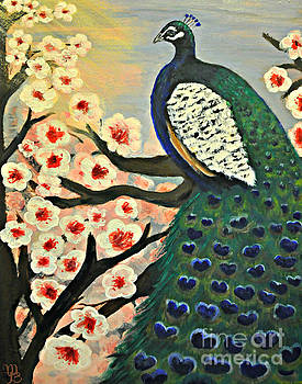 Mr. Peacock Cherry Blossom by Mindy Bench