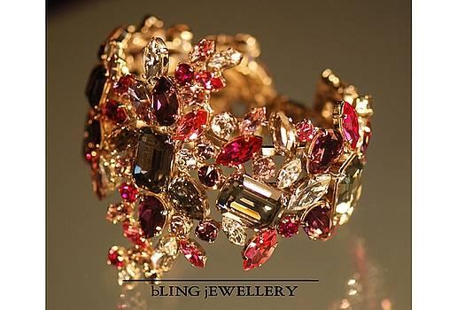 Multi Coloured Crystal Sculptured Bracelet by Janine Antulov
