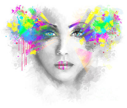 Multicolored abstractn Woman Beautiful portrait illustration by Alena Lazareva