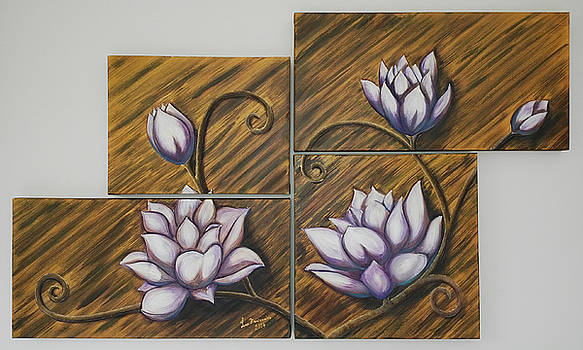 Multiple Panels Flowers by Iven Maniscalco