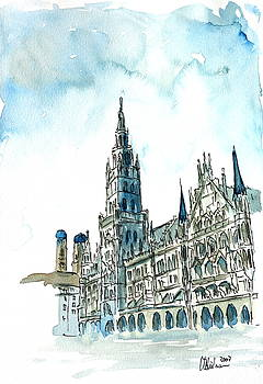 Munich City Hall with Church of Our Lady by M Bleichner