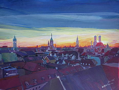 Munich Rooftop View At Sunset by M Bleichner