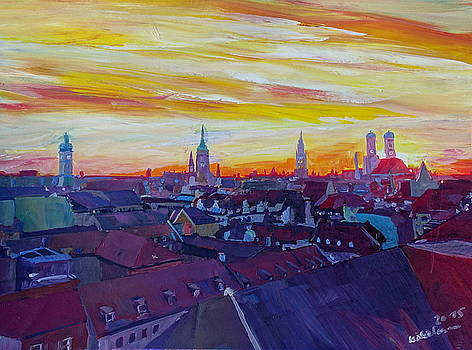 Munich Skyline with Burning Sky at Sunset by M Bleichner