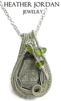 Muonionalusta Meteorite Slice and Peridot Pendant in Sterling Silver - IMSSS12 by Heather Jordan