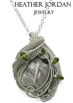 Muonionalusta Meteorite Slice and Peridot Pendant in Tarnish-Resistant Sterling Silver - IMSSS13 by Heather Jordan