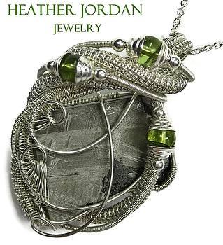Muonionalusta Meteorite Slice and Peridot Pendant in Tarnish-Resistant Sterling Silver - IMSSS14 by Heather Jordan