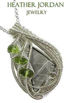 Muonionalusta Meteorite Slice Wire-Wrapped Pendant in Tarnish-Resistant Sterling Silver with Peridot by Heather Jordan