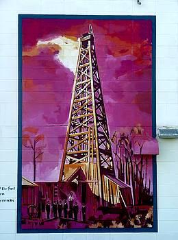 Mural detail 12x120 feet Midwest The First Oil Derek in Alberta by Tim  Heimdal