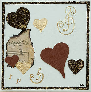 Musical Love - Tan Hearts by Alison Quine