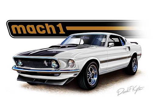 Mustang Mach 1 white by David Kyte
