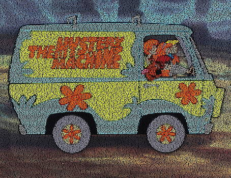 Mystery Machine Lyric Mosaic by Paul Van Scott