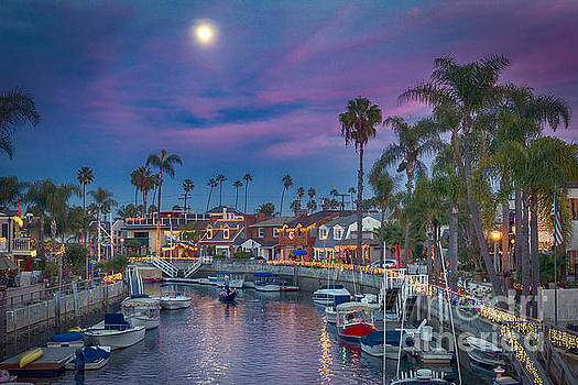David Zanzinger - Naples Canal Gondolier Full Moon at Sunset