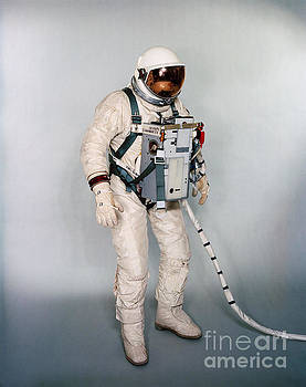 R Muirhead Art - NASA Suited test subject equipped with Gemini 12 Life Support System and waist tethers