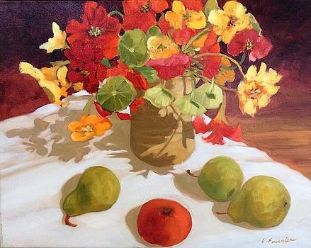 Nasturniums and fruits by Liliane Fournier