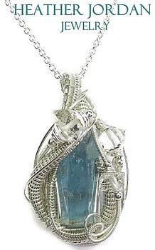 Natural Aquamarine Crystal Wire-Wrapped Pendant in Tarnish-Resistant Sterling S w Herkimer Diamonds by Heather Jordan