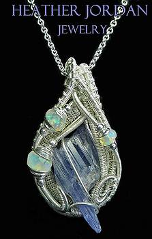 Natural Tanzanite Crystal Wire-Wrapped Pendant in Sterling Silver with Ethiopian Opals - TNZPSS3 by Heather Jordan