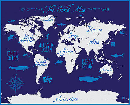 Nautical World Map by Gary Grayson