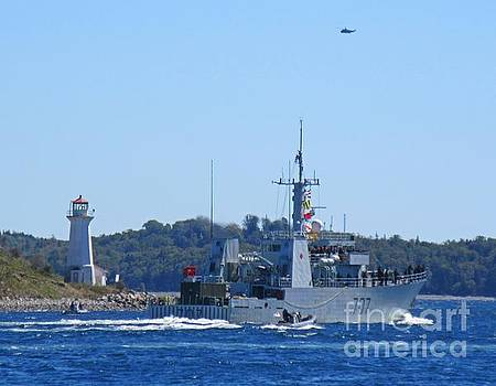 Naval Ship with Lighthouse and Helicopter in the Air by John Malone