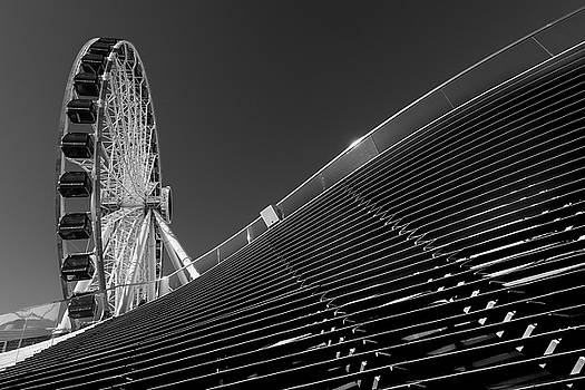 Navy Pier Wheel Chicago B W by Steve Gadomski