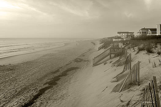 NC OBX Morning Coastline - Sepia by Brian Wallace