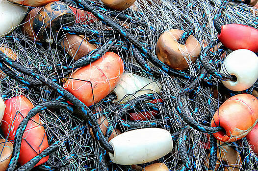 Nets with Orange and White Buoys by Lynn Jordan