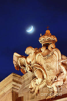 New Moon over the Alcala Gate Madrid by James Brunker