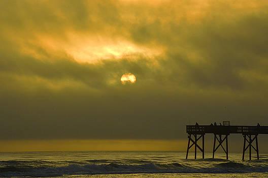Moody Sunrise with pier 12-31-15 by Julianne Felton