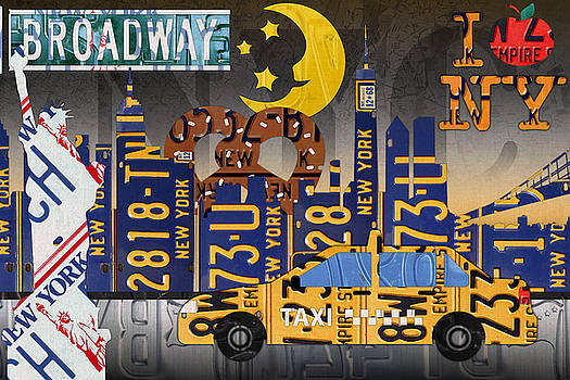 New York City NYC The Big Apple License Plate Art Collage No 2 by Design Turnpike