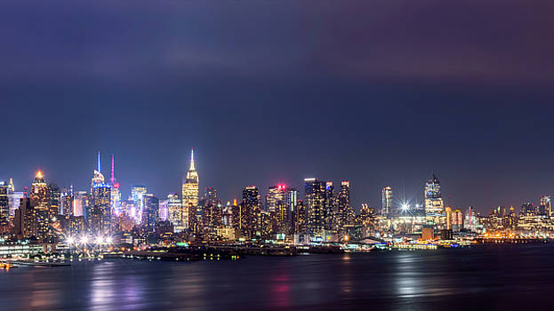 New York City Skyline at night.  by Zina Zinchik