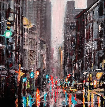 New York Dusk Rain by Paul Mitchell