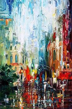 New York Morning - PALETTE KNIFE Oil Painting On Canvas By Leonid Afremov by Leonid Afremov