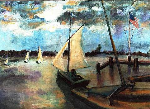 Newport Moonlight Sail by Randy Sprout