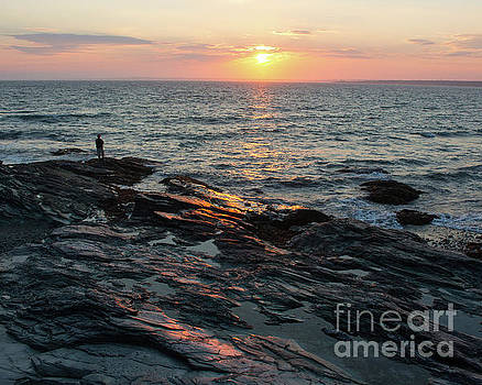 Newport Sunset Alone by Cheryl Del Toro
