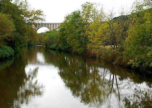 Nicholson Bridge Reflections Fall by June Lambertson